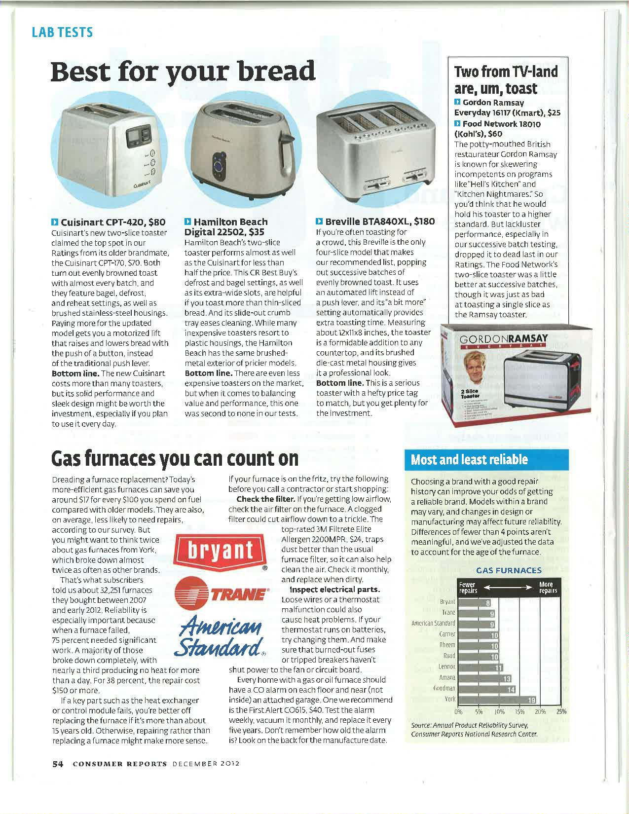 The Newest 2012 Consumer Report For Furnace Constant