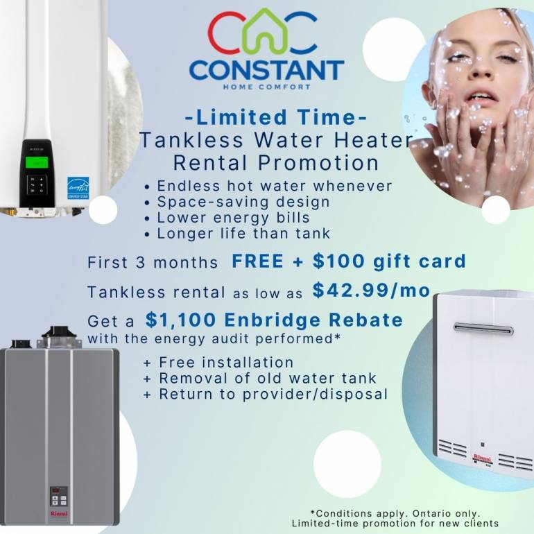 Tankless water heater rental promo