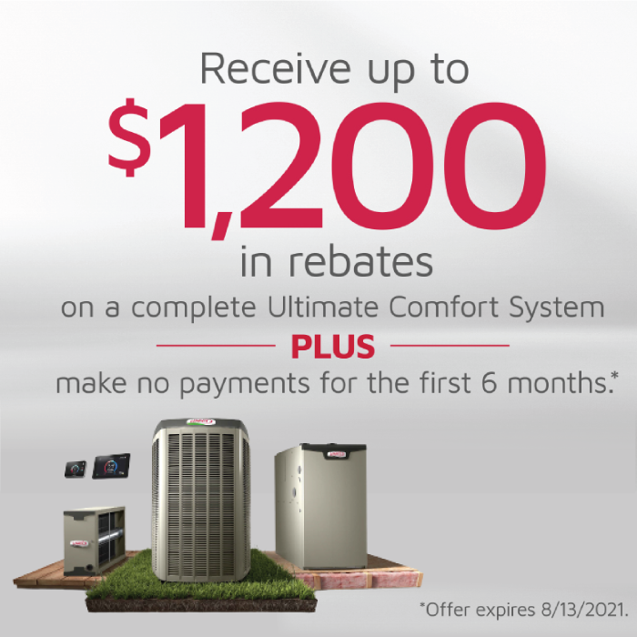 Get Your Ultimate Comfort System FREE for the First 6 Months + Get $1,200 in Rebates!